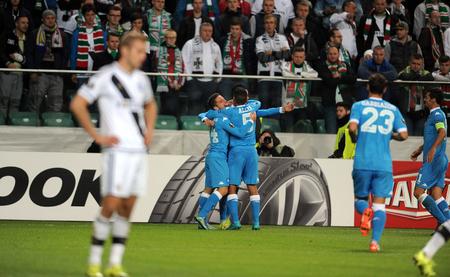 midfielder: WARSAW, POLAND - OCTOBER 1, 2015: UEFA Europa League group stage Legia Warsaw SSC Napoliop Dries Martens Jose Callejon goal Napoli Napoli
