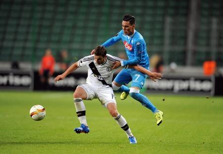Napoli: WARSAW, POLAND - OCTOBER 1, 2015: UEFA Europa League group stage Legia Warsaw SSC Napoliop: Bartosz Bereszyski Jose Callejon Napoli Editorial