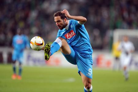 Napoli: WARSAW, POLAND - OCTOBER 1, 2015: UEFA Europa League group stage Legia Warsaw SSC Napoliop: Gonzalo Higuain Napoli goal