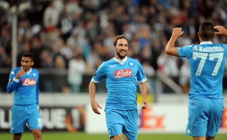 midfielder: WARSAW, POLAND - OCTOBER 1, 2015: UEFA Europa League group stage Legia Warsaw SSC Napoliop: Gonzalo Higuain Napoli goal