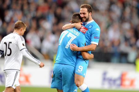 WARSAW, POLAND - OCTOBER 1, 2015: UEFA Europa League group stage Legia Warsaw SSC Napoliop: Gonzalo Higuain Napoli goal
