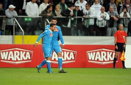 midfielder: WARSAW, POLAND - OCTOBER 1, 2015: UEFA Europa League group stage Legia Warsaw SSC Napoliop Dries Martens David Lopez Napoli Napoli Editorial