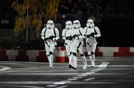 street racing: WARSAW, POLAND - OCTOBER 24, 2015: VERVA Street Racing Special Editionop Star Wars Trupers Editorial