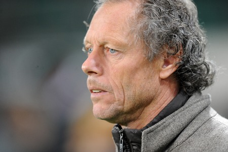 uefa: WARSAW, POLAND - OCTOBER 22, 2015: UEFA Europa League group stage Legia Warsaw Club Brugge Belgiumop Michael Preud Homme coach