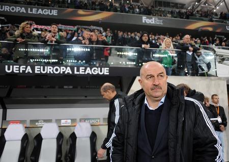 midfielder: WARSAW, POLAND - OCTOBER 22, 2015: UEFA Europa League group stage Legia Warsaw Club Brugge Belgiumop: Stanislav Cherchesov Czerczesow coach