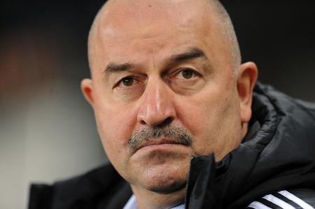 uefa: WARSAW, POLAND - OCTOBER 22, 2015: UEFA Europa League group stage Legia Warsaw Club Brugge Belgiumop: Stanislav Cherchesov Czerczesow coach