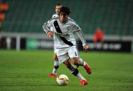 uefa: WARSAW, POLAND - OCTOBER 22, 2015: UEFA Europa League group stage Legia Warsaw Club Brugge Belgiumop Guilherme