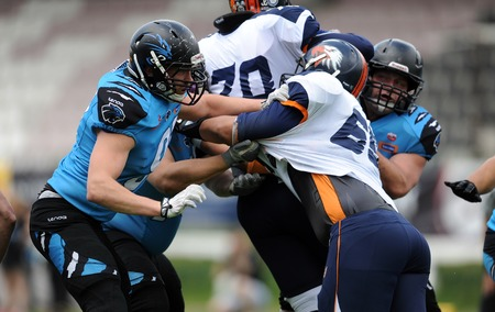 professional football: WARSAW, POLAND - MAY 24, 2015: American Football Polish Top League match Warsaw Eagles and Wroclaw Panthers