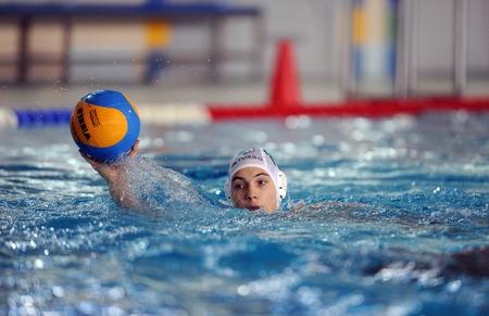 water polo: VARSOVIA, POLONIA - 08 de diciembre 2015: Polaco Waterpolo Superliga Legia Varsovia - DSW Waterpolo Poznanop: jugadores de waterpolo Editorial