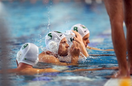 waterpolo: WARSAW, POLAND - DECEMBER 08, 2015: Polish Waterpolo Super League Legia Warsaw - DSW Waterpolo Poznanop: water polo players