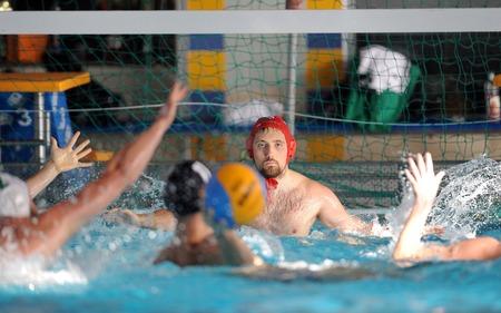 water polo: WARSAW, POLAND - DECEMBER 08, 2015: Polish Waterpolo Super League Legia Warsaw - DSW Waterpolo Poznanop: water polo players