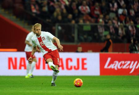 european championship: WARSAW, POLAND - NOVEMBER 13, 2015: EURO 2016 European Championship Friendly game Poland - Kamil Glik Icelandop Editorial