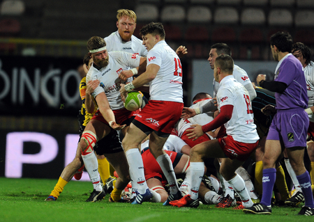 scores: WARSAW, POLAND-NOVEMBER 14,  2015: Inernational Friendly  rugby game Poland - Moldova Europe Rugby Cup