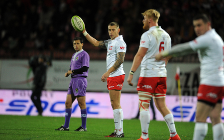 shove: WARSAW, POLAND-NOVEMBER 14,  2015: Inernational Friendly  rugby game Poland - Moldova Europe Rugby Cup