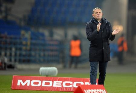 ruch: CRACOV, POLAND - OCTOBER 30, 2015: T-Mobile Extra League Polish Premier Football League Wisla Krakow - Ruch Chorzow op: Kazimierz Moskal