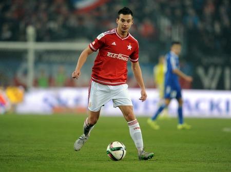 ruch: CRACOV, POLAND - OCTOBER 30, 2015: T-Mobile Extra League Polish Premier Football League Wisla Krakow - Ruch Chorzow op: Maciej Sadlok