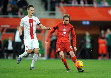 european championship: WROCLAW, POLAND - NOVEMBER 17, 2015: EURO 2016 European Championship friendly game Poland - Czech Republic op Arkadiusz Milik Jaroslaw Plasil
