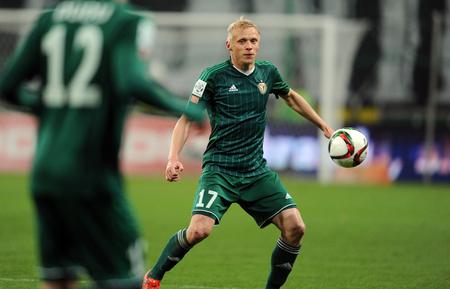 midfielder: WARSAW, POLAND - NOVEMBER 21, 2015: T-Mobile Extra League Polish Premier Football League Legia Warsaw Slask Wroclaw op: Mariusz Pawelec Editorial