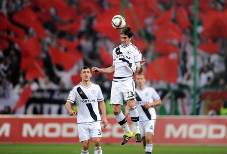 midfielder: WARSAW, POLAND - NOVEMBER 21, 2015: T-Mobile Extra League Polish Premier Football League Legia Warsaw Slask Wroclaw op: Stojan Vranjes Editorial
