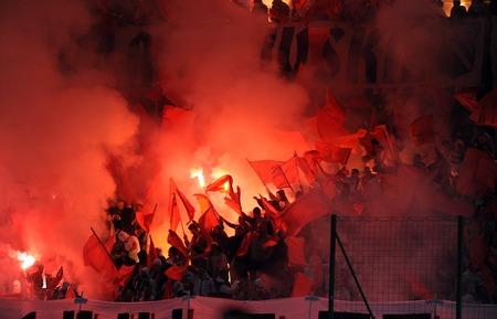 midfielder: WARSAW, POLAND - NOVEMBER 21, 2015: T-Mobile Extra League Polish Premier Football League Legia Warsaw Slask Wroclaw op: Legia football fans