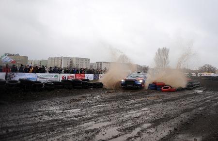 rallying: WARSAW, POLAND - DECEMBER 12, 2015: 53-th Barborka Rally Polish legendary rally cross rally