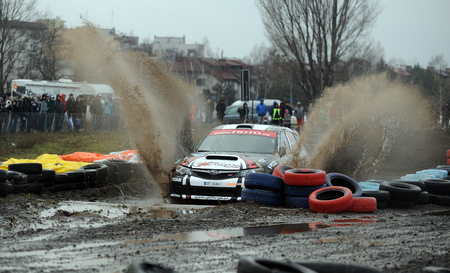 rally: WARSAW, POLAND - DECEMBER 12, 2015: 53-th Barborka Rally Polish legendary rally cross rally