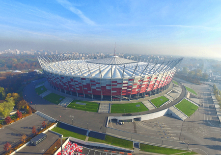 uefa: WARSAW, POLAND - DECEMBER 04, 2015: National stadium in Warsaw, Poland, the arena of UEFA Europa League Cup Final in 2015 Editorial