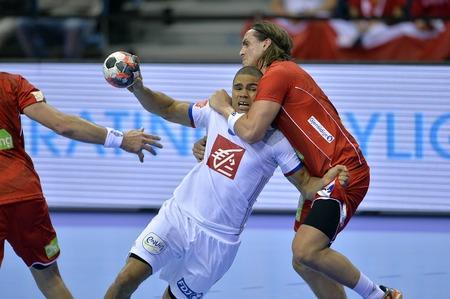CRACOV, POLAND - JANUARY 27, 2016: Men's EHF European Handball Federation EURO 2016 Krakow Tauron Arena France Norwayo/p: Daniel Narcisse Robin Kend Tonnesen