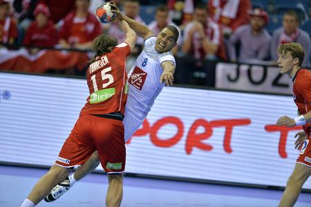 CRACOV, POLAND - JANUARY 27, 2016: Men's EHF European Handball Federation EURO 2016 Krakow Tauron Arena France Norwayo/p: Robin Kend Tonnesen Daniel Narcisse