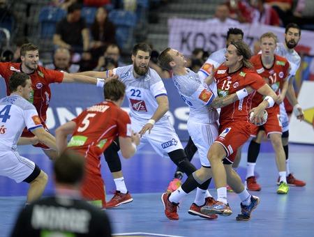 CRACOV, POLAND - JANUARY 27, 2016: Men's EHF European Handball Federation EURO 2016 Krakow Tauron Arena France Norwayo/p: Valentin Porte Robin Kend Tonnesen