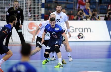 fabregas: CRACOV, POLAND - JANUARY 21, 2016: Mens EHF European Handball Federation EURO 2016 Krakow Tauron Arena France - Belarus op: Ludovic Fabregas