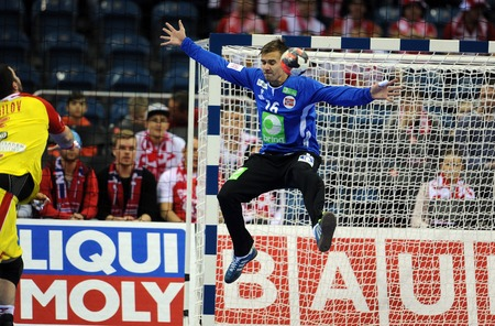 Fot. Maciej Gillert  East News  Media Pictures Krakow 25.01.2016 EHF EURO 2016 Norwegia vs Macedonië Europenan Handbal Kampioenschap Pilka reczna mistrzostwa Europy Noorwegen Macedonië n  z Espen Christensen