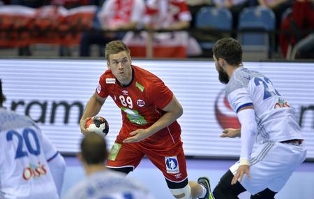 CRACOV, POLEN - 27 januari 2016: Heren EHF Europese handbalfederatie EURO 2016 Krakow Tauron Arena Frankrijk Noorwegen o  p: Lie Espen Hansen Luka Karabatic