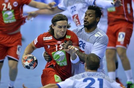 CRACOV, POLAND - JANUARY 27, 2016: Men's EHF European Handball Federation EURO 2016 Krakow Tauron Arena France Norwayo/p: Robin Kend Tonnesen Cedric Sorhaindo