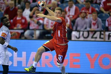 Cracov, Polen - 27 januari 2016: Heren EHF Europese Handbal Federatie EURO 2016 Krakow Tauron Arena Frankrijk Noorwegen o  p: Lie Espen Hansen Redactioneel