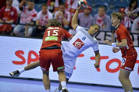 CRACOV, POLAND - JANUARY 27, 2016: Men's EHF European Handball Federation EURO 2016 Krakow Tauron Arena France Norwayo/p: Robin Kend Tonnesen Daniel Narcisse Sajtókép