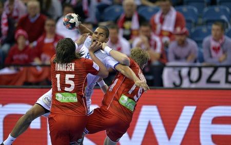 CRACOV, POLAND - JANUARY 27, 2016: Men's EHF European Handball Federation EURO 2016 Krakow Tauron Arena France Norwayo/p: Robin Kend Tonnesen Daniel Narcisse Kristian Bjornsen Sajtókép