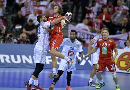 CRACOV, POLAND - JANUARY 27, 2016: Men's EHF European Handball Federation EURO 2016 Krakow Tauron Arena France Norwayo/p: Luka Karabatic Robin Kend Tonnesen