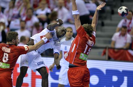 CRACOV, POLAND - JANUARY 27, 2016: Men's EHF European Handball Federation EURO 2016 Krakow Tauron Arena France Norwayo/p: Olivier Guy Nyokas Robin Kend Tonnesen Sajtókép