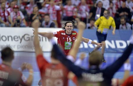 CRACOV, POLAND - JANUARY 27, 2016: Men's EHF European Handball Federation EURO 2016 Krakow Tauron Arena France Norwayo/p: Robin Kend Tonnesen