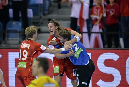 CRACOV, POLAND - JANUARY 27, 2016: Men's EHF European Handball Federation EURO 2016 Krakow Tauron Arena France Norwayo/p: Kristian Bjornsen Robin Kend Tonnesen Ole Erevik