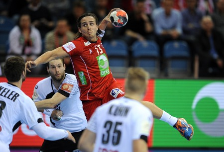 CRACOV, POLAND - JANUARY 29, 2016: Men's EHF European Handball Federation EURO 2016 Krakow Tauron Arena Germany Norwayo/p: Robin Kend Tonnesen Sajtókép