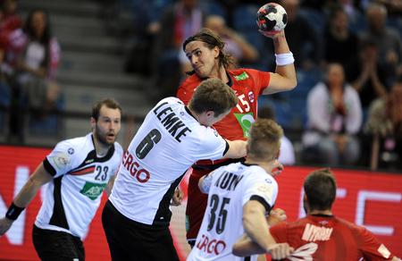 CRACOV, POLAND - JANUARY 29, 2016: Men's EHF European Handball Federation EURO 2016 Krakow Tauron Arena Germany Norwayo/p: Finn Lemke Robin Kend Tonnesen