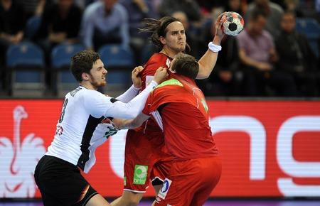 CRACOV, POLAND - JANUARY 29, 2016: Men's EHF European Handball Federation EURO 2016 Krakow Tauron Arena Germany Norwayo/p: Hendrik Pekeler Robin Kend Tonnesen