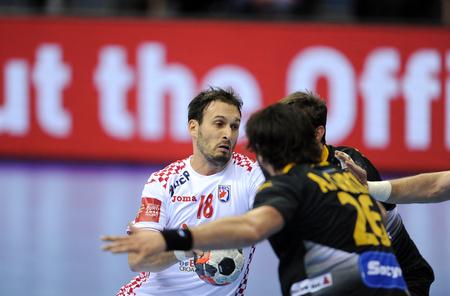 igor: CRACOV, POLAND - JANUARY 29, 2016: Mens EHF European Handball Federation EURO 2016 Krakow Tauron Arena Spain Croatia op: Igor Karacic