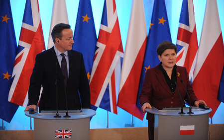 minister: WARSAW, POLAND - FEBRUARY 5, 2016 : British Prime Minister David Cameron during meeting with Prime Minister of Poland Beata Szydlo