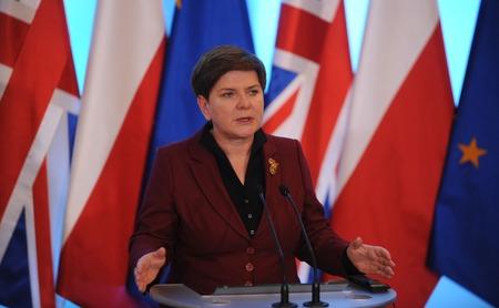 prime: WARSAW, POLAND - FEBRUARY 5, 2016 : British Prime Minister David Cameron during meeting with Prime Minister of Poland Beata Szydlo