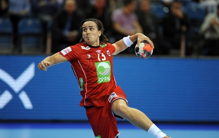 Cracov, POLAND - JANUARY 29, 2016: Men's EHF European Handball Federation EURO 2016 Krakow Tauron Arena Germany Norwayop Robin Kend Tonnesen Sajtókép