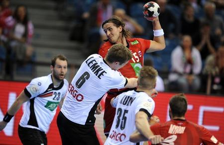 Cracov, POLAND - JANUARY 29, 2016: Men's EHF European Handball Federation EURO 2016 Krakow Tauron Arena Germany Norwayop Finn Lemke Robin Kend Tonnesen Sajtókép