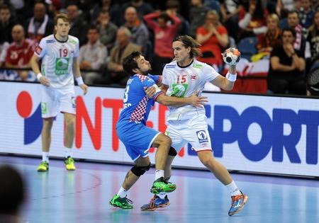 Cracov, POLAND - JANUARY 29, 2016: Men's EHF European Handball Federation EURO 2016 Krakow Tauron Arena Norway Croatia op Robin Kend Tonnesen
